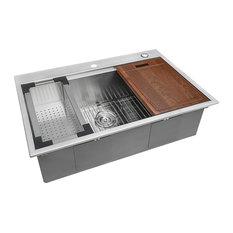 Ruvati 33x22 Workstation Ledge Drop-in Tight Radius Kitchen Sink Single Bowl