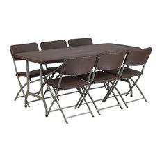 "7-Piece 32""x67"" Brown Rattan Table Set"