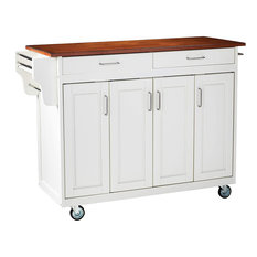 Large Kitchen Island, Oak Wooden Top With Handy Spice Rack and Towel Bar, White