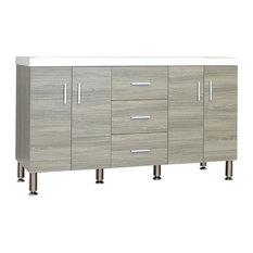 "Ripley 56"" Double Modern Bathroom Vanity Wavy Sink, Gray"
