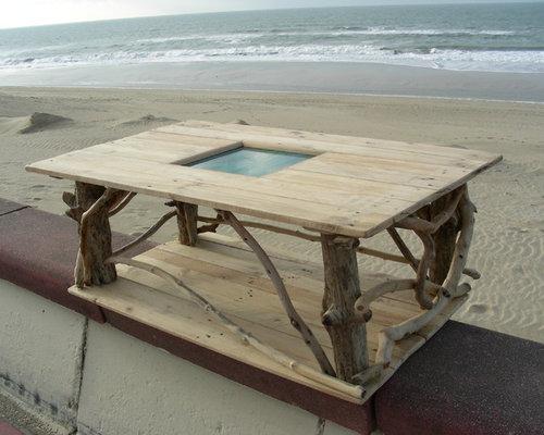 table basse en bois flott et bois de palette - Table De Salon En Bois De Palette