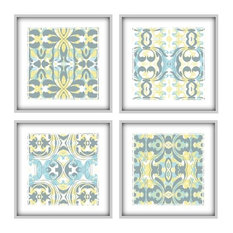Light Blue And Yellow Large Art Arrangement Set of 4 Prints, 14x14