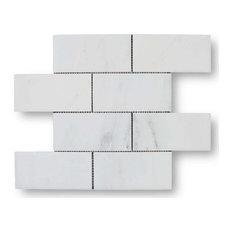 "Bianco Carrara Marble 3""x6"" Subway Tiles, 5 Sq Ft Box"