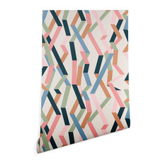 Deny Designs Mareike Boehmer Straight Geometry Ribbon Wallpaper, Beige, 2'x8'
