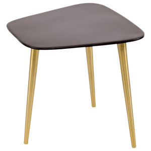 Enamel and Aluminium Tripod Side Table, Brown
