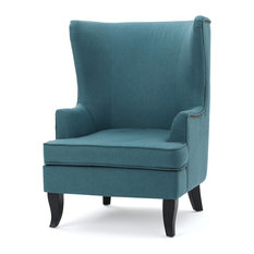 GDFStudio   Congaree Fabric High Wing Back Chair, Teal   Armchairs And  Accent Chairs