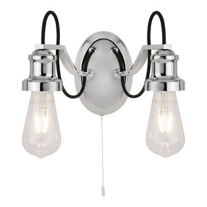 Olivia Chrome Double Wall Light With Black Braided Fabric Cable