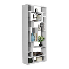 "Contemporary 72""H Hollow-Core Backless Storage Unit Bookcase - White"