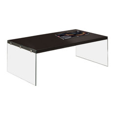 Monarch   Sleek Style Hollow Core Tempered Glass Cocktail Table Furniture  I3280, Cappuccin