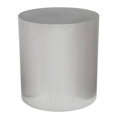 21.5-inch T Cylindrical Side Table Brushed Stainless Steel Modern Minimalism