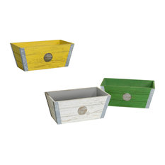 Wood and Metal Planters, 3-Piece Set