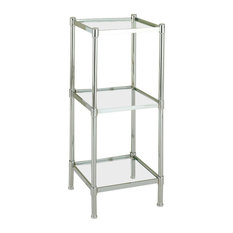 Organize It All - Glacier Shelf Tower In Chrome, 3 Shelf - Bathroom Shelves