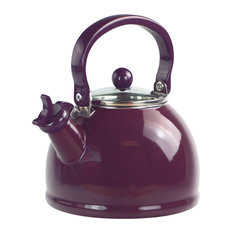 2.2-Quart Enamel Whistling Teakettle With Glass Lid, Plum