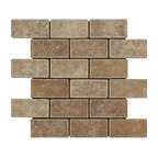 Silver Travertine Brick Mosaic 2x4 Tumbled Mosaic Tiles