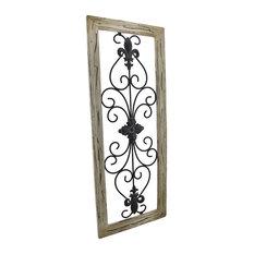 zeckos distressed wooden tan frame wrought iron fleur de lis wall decor 30 x 12