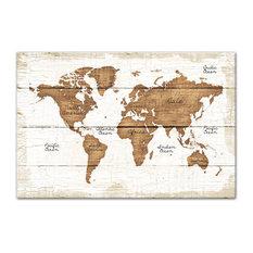 "Distressed Wood World Map Canvas Wall Art, 24""x36"""