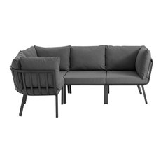 Riverside 4 Piece Outdoor Patio Aluminum Sectional Gray Charcoal