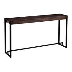 Modern Console Table, Burnt Oak With White Grain Finish