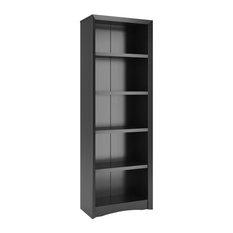 "Corliving Quadra 71"" Tall Bookcase, Black Faux Woodgrain Finish"