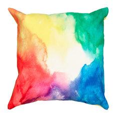 """Primary Watercolor Indoor/Outdoor Throw Pillow, 18""""x18"""""""