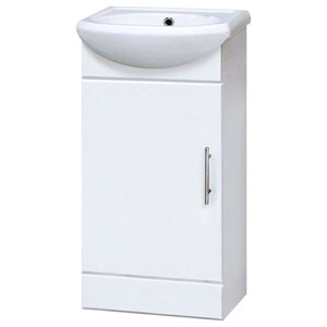 Cabinet and Basin Unit, White MDF With 2-Door and Inner Shelf, Modern Design