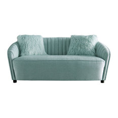 Vertical Channel Stitching Fabric Loveseat With Curved Back Light Green