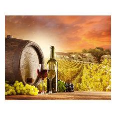 """Wine Still Life and Vineyard"" Aluminum Wall Art by Aluminyze, 24x30"