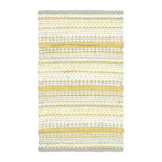 L R Resources Inc   Cotton Dhurry Area Rug, Rectangle, Yellow Gray, 8