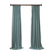 "Blue Agave Yarn Dyed FauxDupioni Silk Curtain Single Panel, 50""x96"""