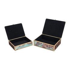 Zuo Mundi 2 Piece Glass Storage Box Set in Brown Geode
