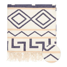 "Harry Cotton Throw Blanket With Fringe, Blue and White, 50""x70"""