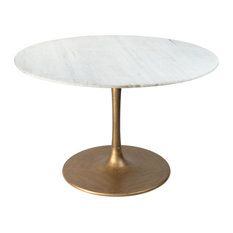 Modern White Gold Dining Table Heavy Duty Stain Resistant White Marble Iron