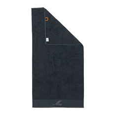 Mrs Black Line Stone Grey Beach Towel With Grey Rhinestones, Black