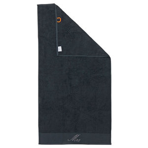 Mrs Black Line Stone Grey Beach Towel With Grey Rhinestones, Black