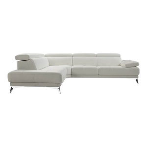 Winner Premium Leather Sectional Sofa, White, Left Hand Facing Chaise