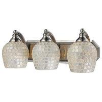 3-Light Vanity, Satin Nickel and Silver Mosaic Glass, Led, 800 Lumens