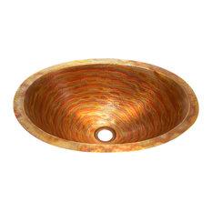Flat Rim Oval Bathroom Copper Sink