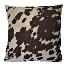 "Cowhide Brown Animal Fur Decorative Throw Pillow, 24""x24"""