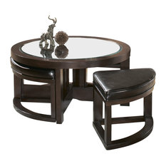 HomeleganceLA, Inc   Homelegance Brussel Round Cocktail Table With 4  Ottomans   Coffee Tables
