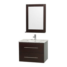 "Wyndham Collection 30"" Centra Espresso Single Vanity With Square Porcelain Sink"
