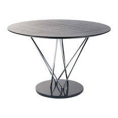 eurostyle eurostyle stacy pedestal round dining table w black marble base dining tables: round white marble dining table