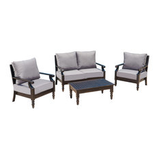 GDFStudio - 4-Piece Westin Deep Seating Outdoor Aluminum Sofa Set - Outdoor Lounge Sets