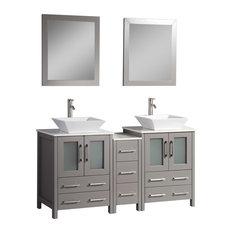 Vanity Art Vanity Set With Vessel Sink Gray 60-inch Standard Mirror