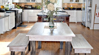 Solid Oak Farm Table, Bench, and Antique Pew