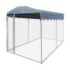 "VidaXL Heavy-Duty Outdoor Dog Kennel With Canopy Top, 79""x158""x93"""