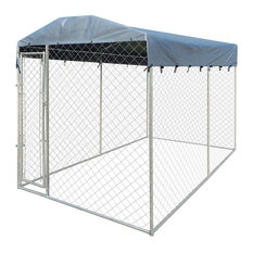 VidaXL Heavy Duty Outdoor Dog Kennel With Canopy Top, 200x400x235 cm