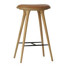 Mater Danish Modern Bar Stool Soaped Oak Tan Leather Seat