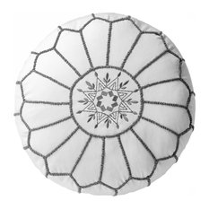 nuLOOM Yiana Embroidered Cotton Pouf, White