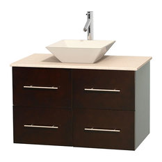 "Centra 36"" Espresso Vanity, Ivory Marble Top, Pyra Bone Porcelain"