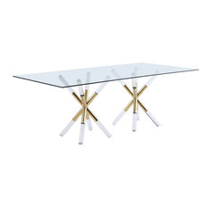 Mercury Dining Table with Acrylic and Gold Legs, Rectangular Glass Top